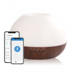 Difuzor aromaterapie Moon 300ml, Lemn Inchis, Umidificator Aer cu Ultrasunete, Control prin Aplicatie si Voce, 7 Culori Ambientale + CADOU