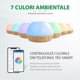 Difuzor aromaterapie Moon 300ml, EZEN, Lemn Deschis, Umidificator Aer cu Ultrasunete, Control prin Aplicatie si Voce, 7 Culori Ambientale + CADOU