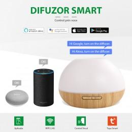 Difuzor aromaterapie Moon 300ml, EZEN, Lemn Deschis, Umidificator Aer cu Ultrasunete, Control prin Telefon, 7 Culori Ambientale + CADOU