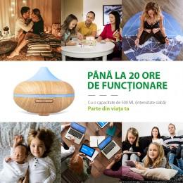 Difuzor aromaterapie Lotus 500ml, EZEN, Lemn Deschis, Umidificator Aer cu Ultrasonic, Control prin Telefon, 7 Culori Ambientale + CADOU