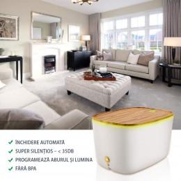 Difuzor aromaterapie Balance 1800ml, EZEN, Umidificator Aer cu Ultrasunete, Control prin Aplicatie, 7 Culori Ambientale + CADOU