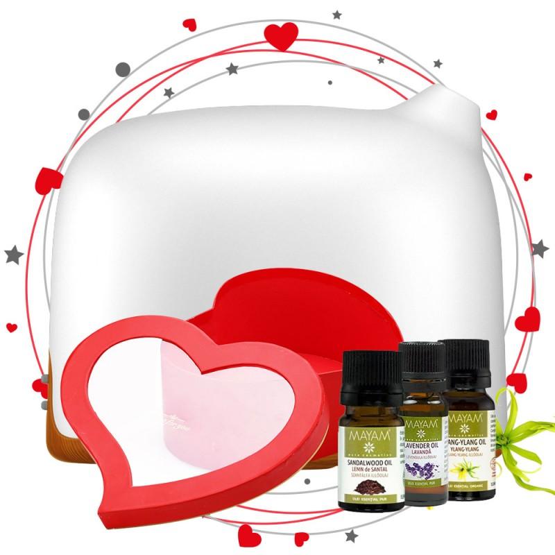 Pachet de Aromaterapie Afrodisiac + Cutie Cadou, Difuzor aromaterapie Dreamer 300ml, EZEN, Lemn Inchis, Control prin Telefon, Ulei esential de Lemn de Santal, Lavanda, Ylang Ylang