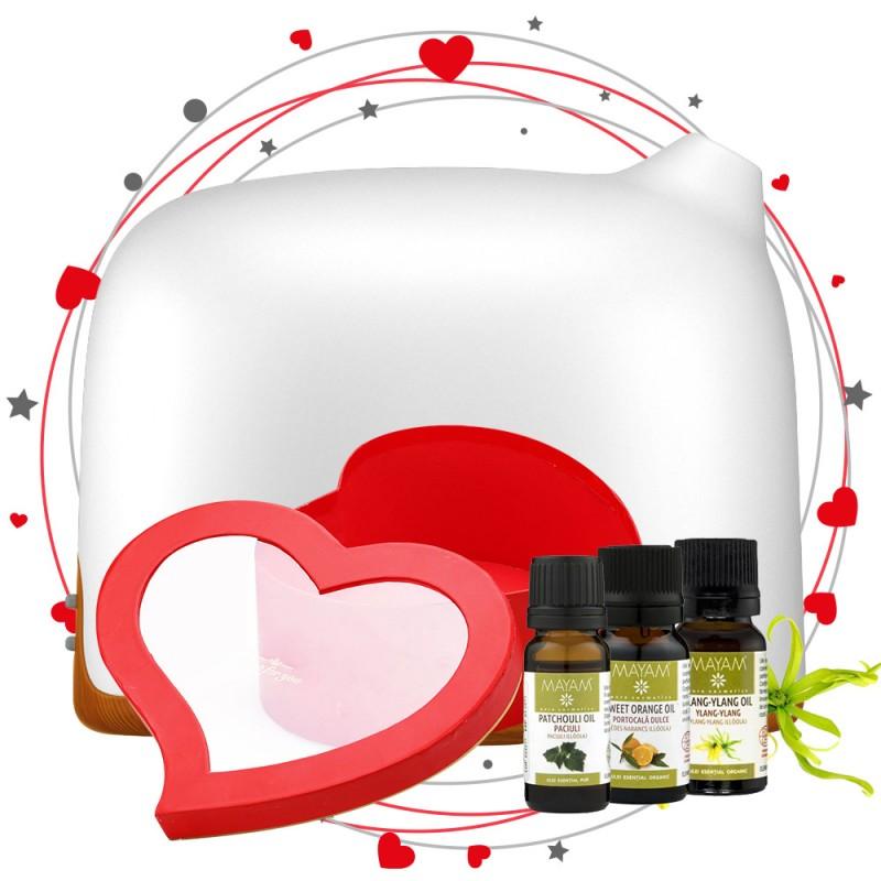 Pachet de Aromaterapie Atmosfera de Dragoste + Cutie Cadou, Difuzor aromaterapie Dreamer 300ml, EZEN, Lemn Inchis, Control prin Telefon, Ulei esential de Paciuli, Portocala si Ylang Ylang