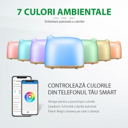 Difuzor aromaterapie Dreamer 300ml, EZEN, Lemn Deschis, Umidificator Aer cu Ultrasunete, Control prin Telefon, 7 Culori Ambientale + CADOU