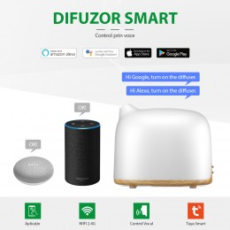 Difuzor aromaterapie Dreamer 300ml, EZEN, Lemn Inchis, Umidificator Aer cu Ultrasunete, Control prin Aplicatie si Voce, 7 Culori Ambientale + CADOU