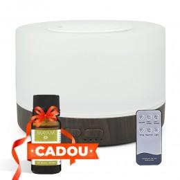 Difuzor aromaterapie Life of Leisure 2 500ml, EZEN, Alb + Lemn inchis, Umidificator Aer cu Ultrasonic, Control prin Telecomanda, 7 Culori Ambientale + CADOU