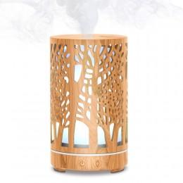Difuzor aromaterapie Tree of Life 110ml, EZEN, Lemn deschis, Umidificator Aer cu Ultrasonic, Control prin Telecomanda, 7 Culori Ambientale + CADOU