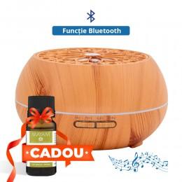 Difuzor aromaterapie Flower Music 500ml, EZEN, Lemn Deschis, Umidificator Aer cu Ultrasonic, 7 Culori Ambientale + CADOU