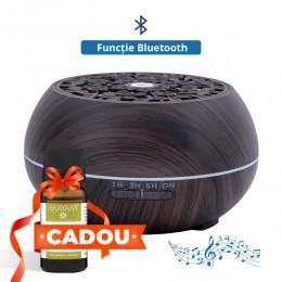 Difuzor aromaterapie Flower Music 500ml, EZEN, Lemn Inchis, Umidificator Aer cu Ultrasonic, 7 Culori Ambientale + CADOU