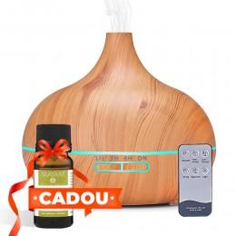 Difuzor aromaterapie Etna 500ml, EZEN, Lemn deschis, Umidificator Aer cu Ultrasonic, Control prin Telecomanda, 7 Culori Ambientale + CADOU