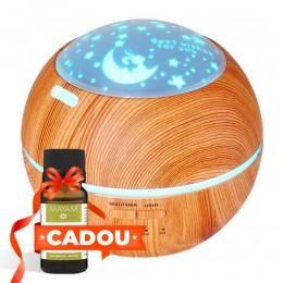 Difuzor aromaterapie Fantasy 150ml, EZEN, Lemn deschis, Umidificator Aer cu Ultrasonic, 7 Culori Ambientale + CADOU