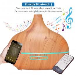 Difuzor aromaterapie Etna Music 550ml, EZEN, Lemn Deschis, Umidificator Aer cu Ultrasonic, 7 Culori Ambientale cu Telecomanda + CADOU