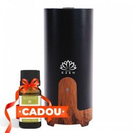 Difuzor aromaterapie CarAroma, Auto / Birou, Portabil USB, EZEN, 50 ml,  Umidificator Aer cu Ultrasunete, Lemn Inchis si Negru + CADOU