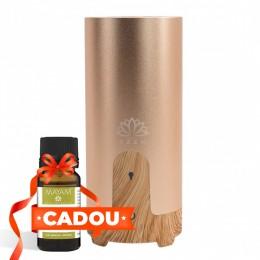 Difuzor aromaterapie CarAroma, Auto / Birou, Portabil USB, EZEN, 50 ml,  Umidificator Aer cu Ultrasunete, Lemn Deschis si Auriu + CADOU