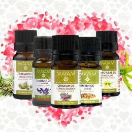 Kit 5 uleiuri esentiale Afrodisiace Ylang Ylang, Geranium, Smirna, Lavanda, Cedru de Atlas