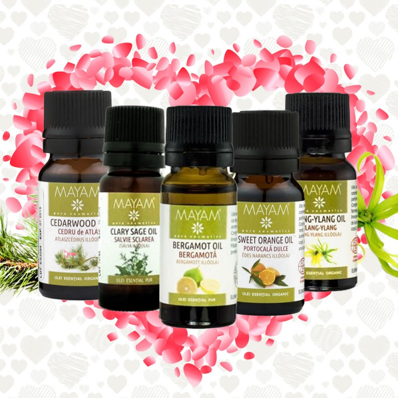 Kit 5 uleiuri esentiale Afrodisiace Ylang Ylang, Bergamota, Portocala, Cedru de Atlas, Clary Sage