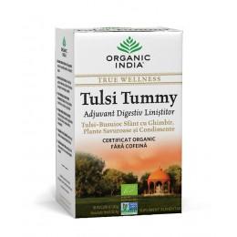 Ceai Digestiv Tulsi (Busuioc Sfant) Tummy cu Ghimbir, Plante Savuroase si Condimente Plicuri