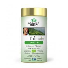 Ceai Verde Tulsi (Busuioc Sfant) cu Ceai Verde  Antistres Natural & Vitalizant Cutie 100g
