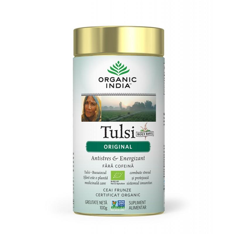 Ceai Tulsi (Busuioc Sfant) Original   Antistres Natural & Energizant Cutie 100g