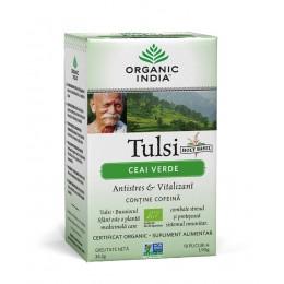Ceai Verde Tulsi (Busuioc Sfant) cu Ceai Verde| Antistres Natural & Vitalizant Plicuri